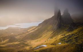 горы, холмы, озёра, скалы, камни, Великобритания, Шотландия, долина, туман