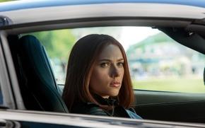 Scarlett Johansson, Black Widow, face, The First Avenger: Another War, actress, girl, view, Natasha Romanoff, machine