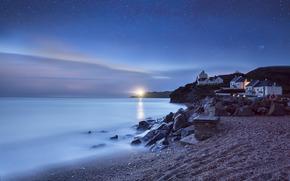 lighthouse, home, night, beach, calm, sea, Star