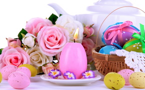 Easter, Roses, laying, eggs