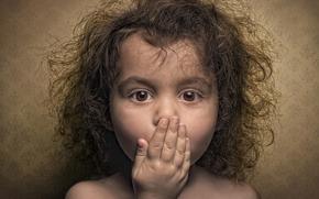 girl, surprise, portrait, curls