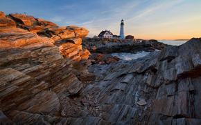 Portland Head Light, Cape Elizabeth, Maine, faro, Golfo de Maine, costa, puesta del sol, paisaje