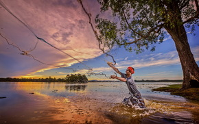 sunset, network, fisherman, river