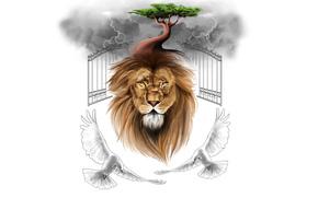 leone, uccelli, Piccioni, NUVOLE, cancelli, albero, nuvole, minimalismo