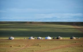 Mongólia, estepe, skyline