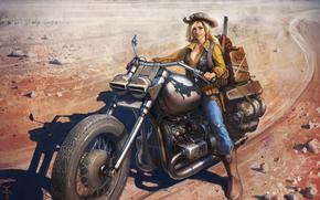 девушка, арт, шляпа, сапоги, взгляд, мотоцикл