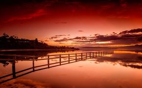 céu, Montanhas, natureza, lago, pôr do sol