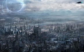 city, transportation, future, megalopolis, Art