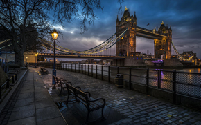 огни, Англия, Лондон, фонари, лавочки, город, тротуар, Великобритания, вечер, набережная, река, Тауэрский мост