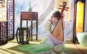 инструмент, музыка, азиатка, девушка