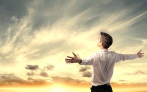 небо, руки, парень, вид, закат