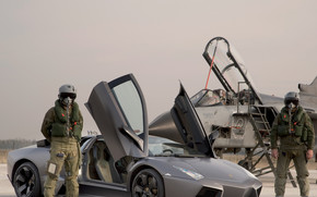 Car, Lamborghini, fighter, jet, pilot, suit