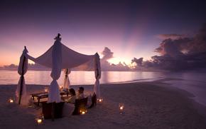 море, настроение, свечи, вечер, двое