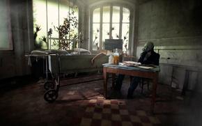 человек, руки, помещение, окна, противогаз