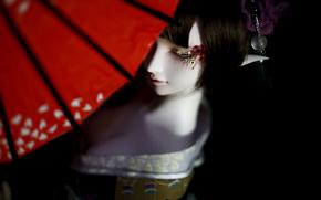 kimono, elfo, paraguas, muñeca, chica