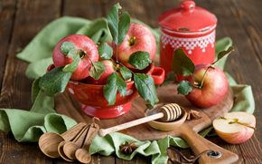 red, crockery, apples, still life, board, fruit, drops, spoon, autumn