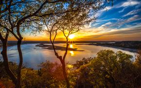 fiume, tramonto, alberi, paesaggio