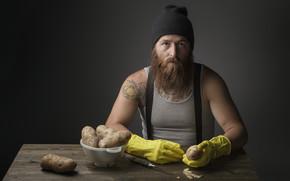 potato, man, knife