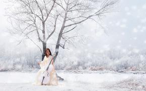 herramienta, Música, invierno, chica