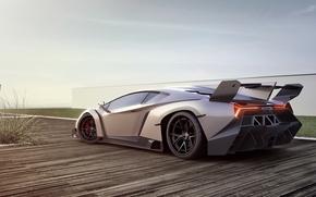 машина, Ламборгини, суперкар, Венено, серебристо-серая, Lamborghini, авто