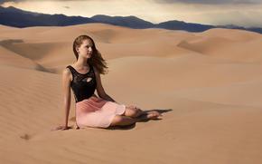 desierto, arena, chica, abrasador sol, Calor