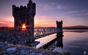 lake, fortress, sun, light, Rays, bridge, evening, sunset