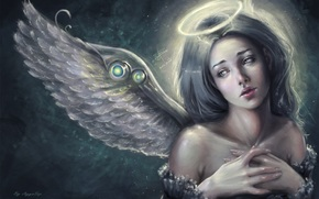 angel, face, Art, nimbus, view, fantasy, wings, girl