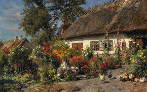 Flowers, home, mallow, picture, windows, hut, chickens, landscape, trees