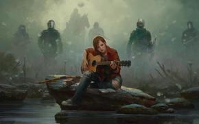 кеды, стрелы, Марек Окон, лошадь, щит, бойцы, лук, рисунок, джинсы, Элли, туман, гитара, камень, Девушка, маски, фан-арт