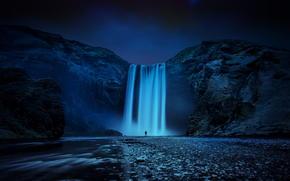 cascata, isola, uomo, Skogafoss, Rocce, notte, FLOW, fiume, natura, Islanda