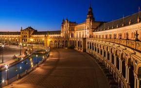 площадь, Севилья, сумерки, город, вечер, Андалусия, ренессанс, Испания, архитектура