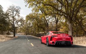 вид сзади, дорога, Toyota, обои, авто, деревья