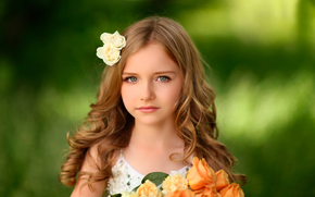 девочка, портрет, цветы