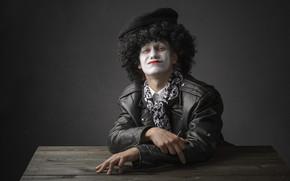 hat, mask, man