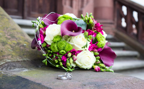 Roses, wedding, callas, bouquet, Flowers, Rings