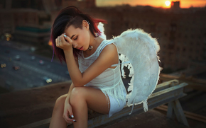 roof, sunset, wings, city, Moscow, angel, girl