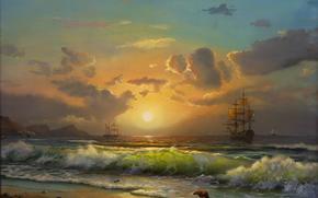 pittura, puntellare, vela, Mare. onda. navi, cielo. nuvole