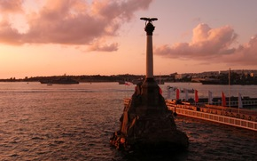 hero, sunset, city, water, Black Sea, clouds, Sevastopol, Monument to the scuttled ships, Russia, evening, embankment