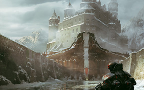 armor, castle, city, Rocks, Art, man, back, snow, water, ice