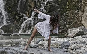 dance, girl, mountain river, stones