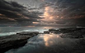 облака, небо, Австралия, море, волны