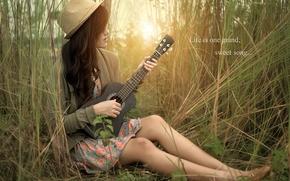 girl, Music, guitar, nature