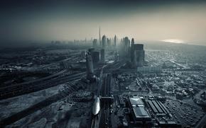 город, Дубай, ОАЭ, здания, дороги, мегаполис, небоскребы, закат, Эмираты
