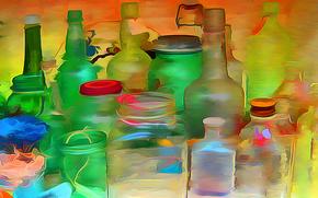 vector, corcho, bancos, COLOR, Botella, vidrio, Rendering, pinturas, dibujo, cubierta