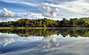 озеро, облака, лес, отражение