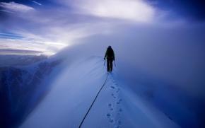 neige, Montagnes, grimpeur, escalade