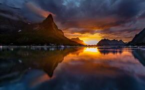 paysage, lac, Montagnes, coucher du soleil