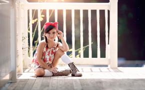 girl, porch