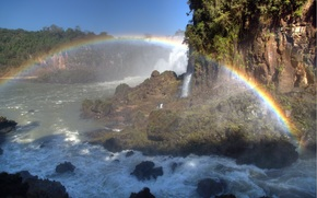"Iguazu, FLOW, ""High Water"", waterfalls, considered the eighth wonder of the world, rainbow, Argentina, spray"