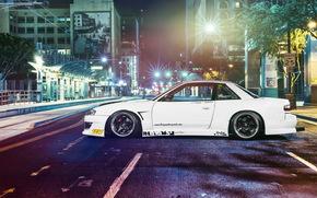 sintonizzazione, Nissan, notte, avtooboi, Nissan, strada